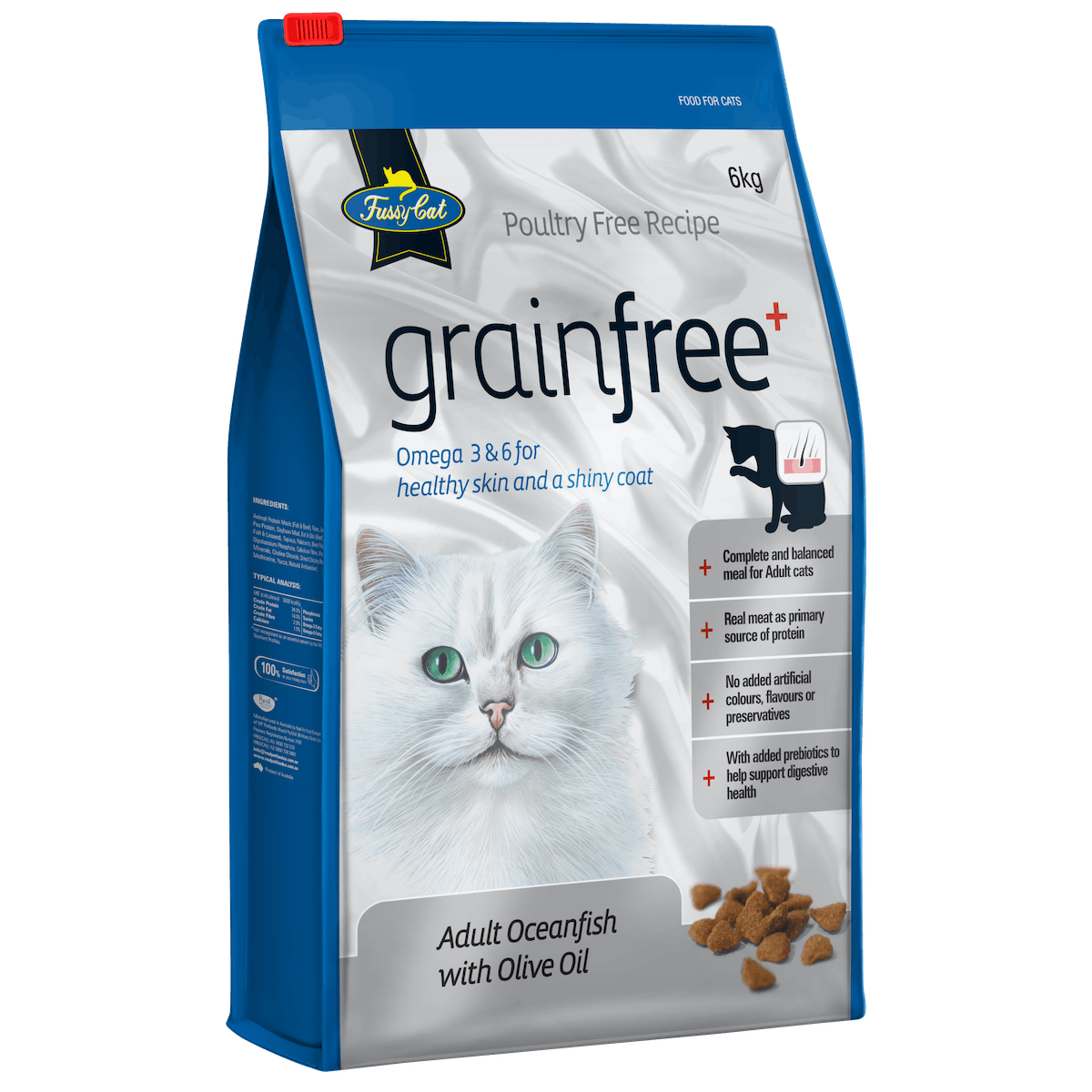 Fussy Cat | Oceanfish with Olive Oil | Dry cat food | Left of pack