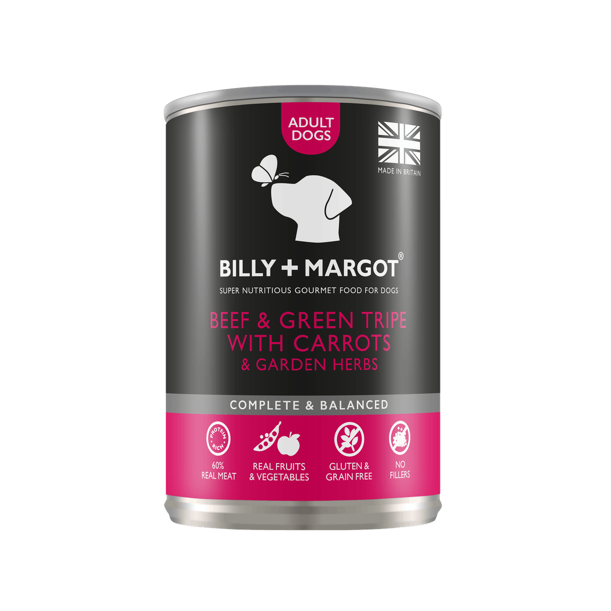 Billy + Margot® | Beef and Green Tripe with Carrots and Garden Herbs | Wet dog food | Front of pack