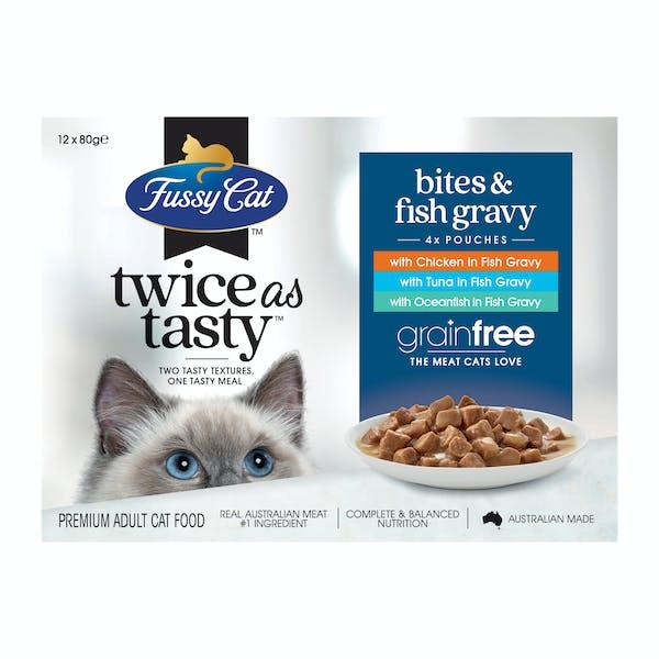 Fussy Cat | Bites & Fish Gravy | Wet Cat Food | Front of pack