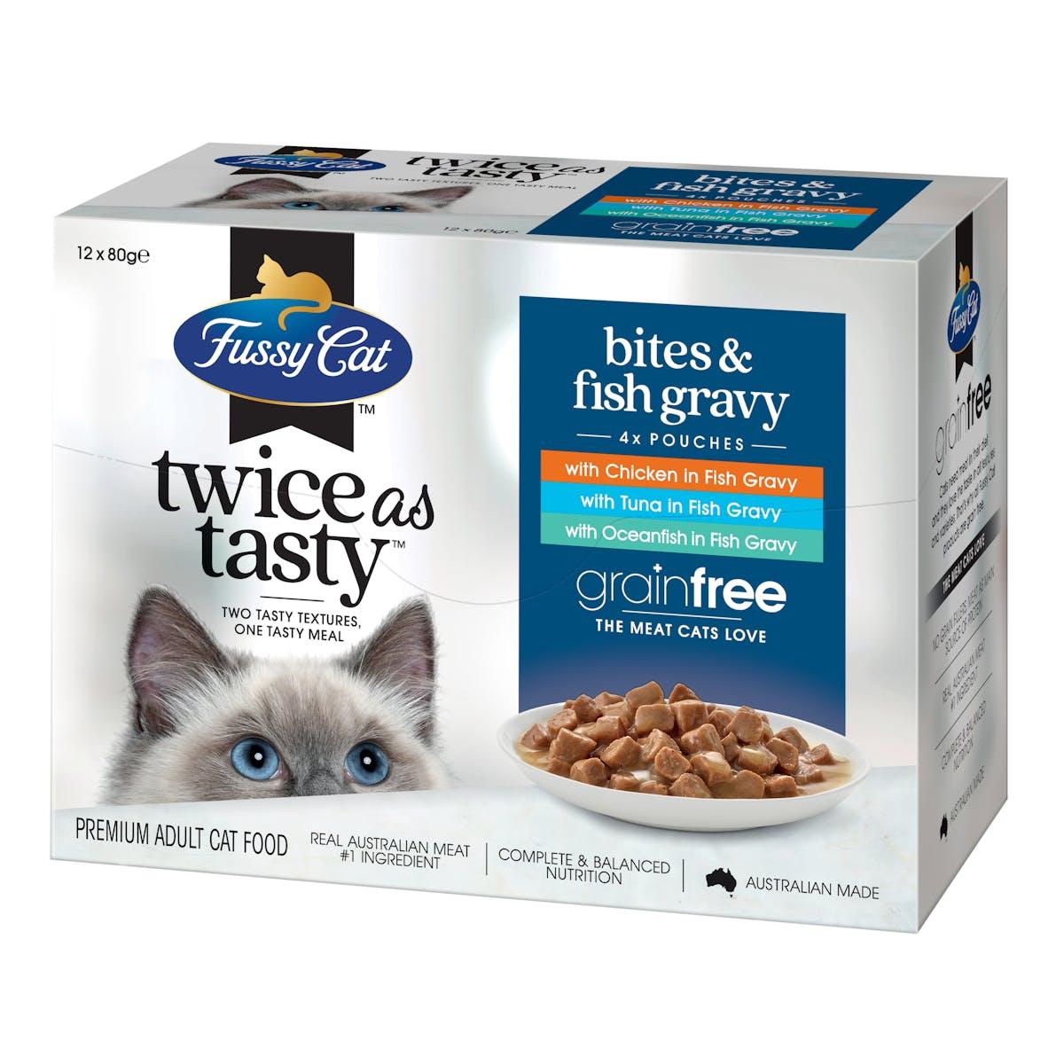 Fussy Cat   Bites & Fish Gravy   Wet Cat Food   Left of pack