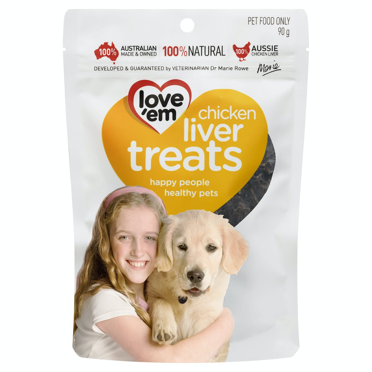 Love'em | chicken liver treats | Indulge dog | Front of pack