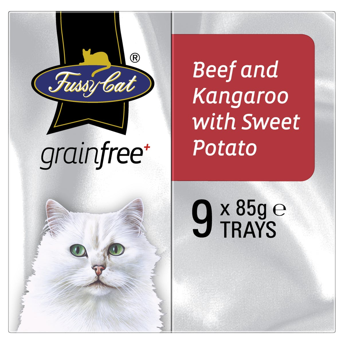 Fussy Cat | Beef and Kangaroo with Sweet Potato 9 x 85g | Wet Cat Food | Left of pack