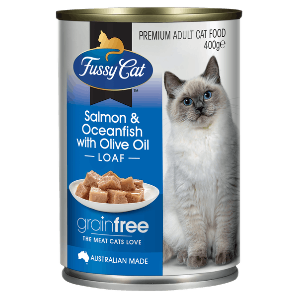 Fussy Cat | Salmon & Oceanfish with Olive Oil 400g | Wet Cat Food | Front of pack
