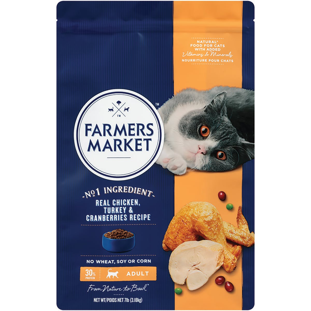 Farmers Market | Chicken and Turkey with Cranberries | Dry cat food | Front of pack