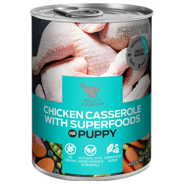 Billy + Margot® | Chicken Casserole With Superfoods | Puppy | Front of pack