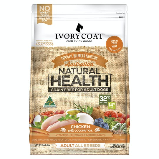 Ivory Coat   Chicken with Coconut Oil   Grain-free dry dog food   Front of pack