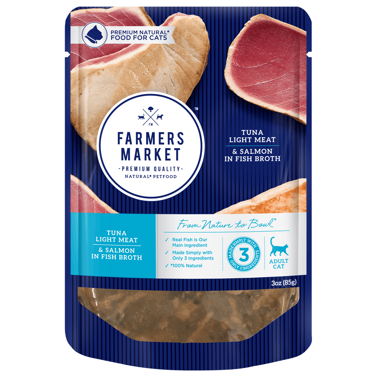 Farmers Market | Tuna and Salmon in Fish Broth | Wet Cat Food | Front of pack