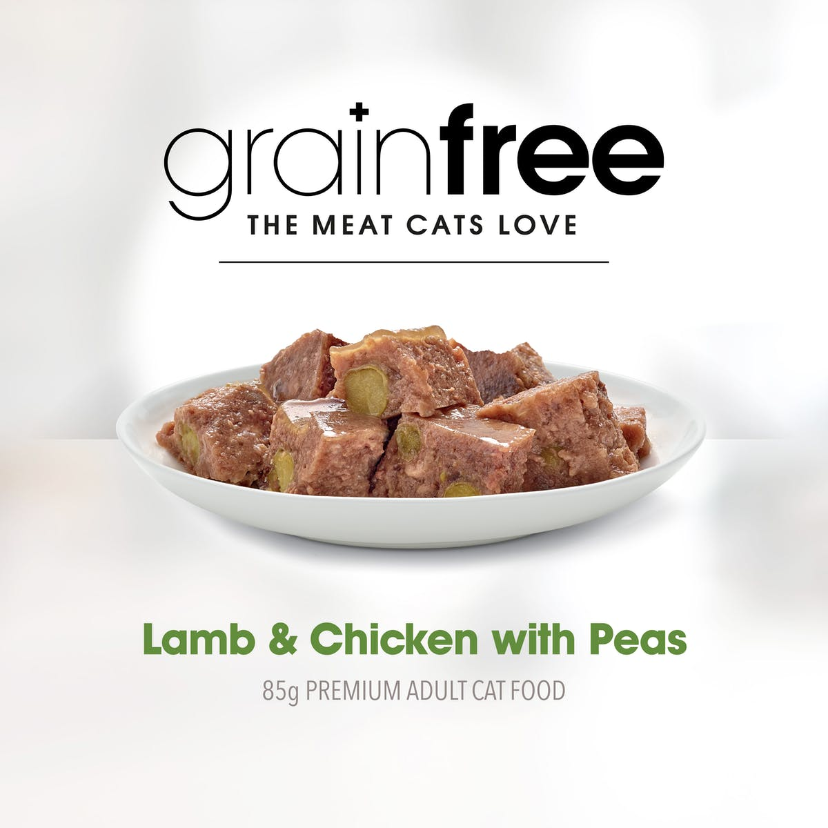 Fussy Cat | Lamb and Chicken with Peas 85g | Wet Cat Food | Right of pack
