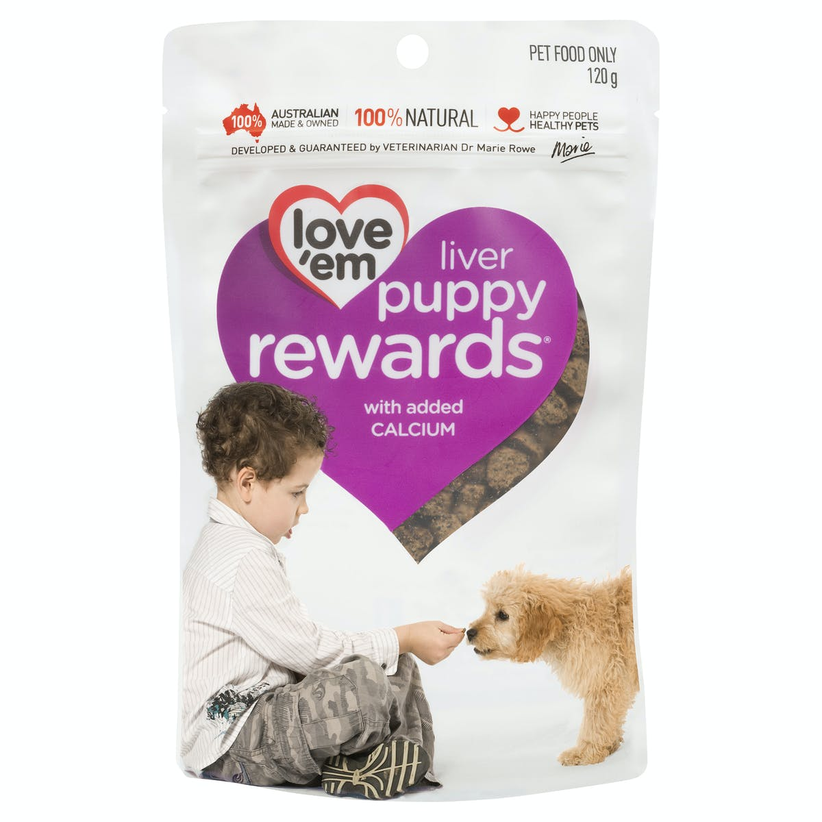 Love'em | liver puppy rewards with added calcium | Train dog | Front of pack