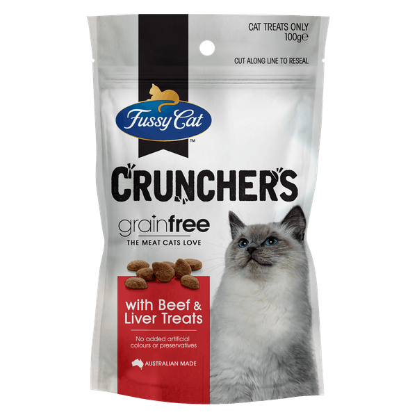 Fussy Cat   with Beef & Liver Treats 100g   Cat treats   Front of pack