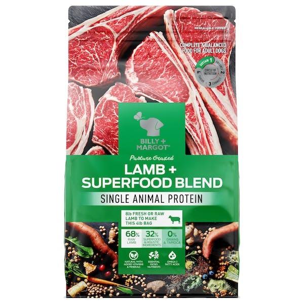 Billy + Margot® | Lamb + Superfood Blend | Dry dog food | Front of pack