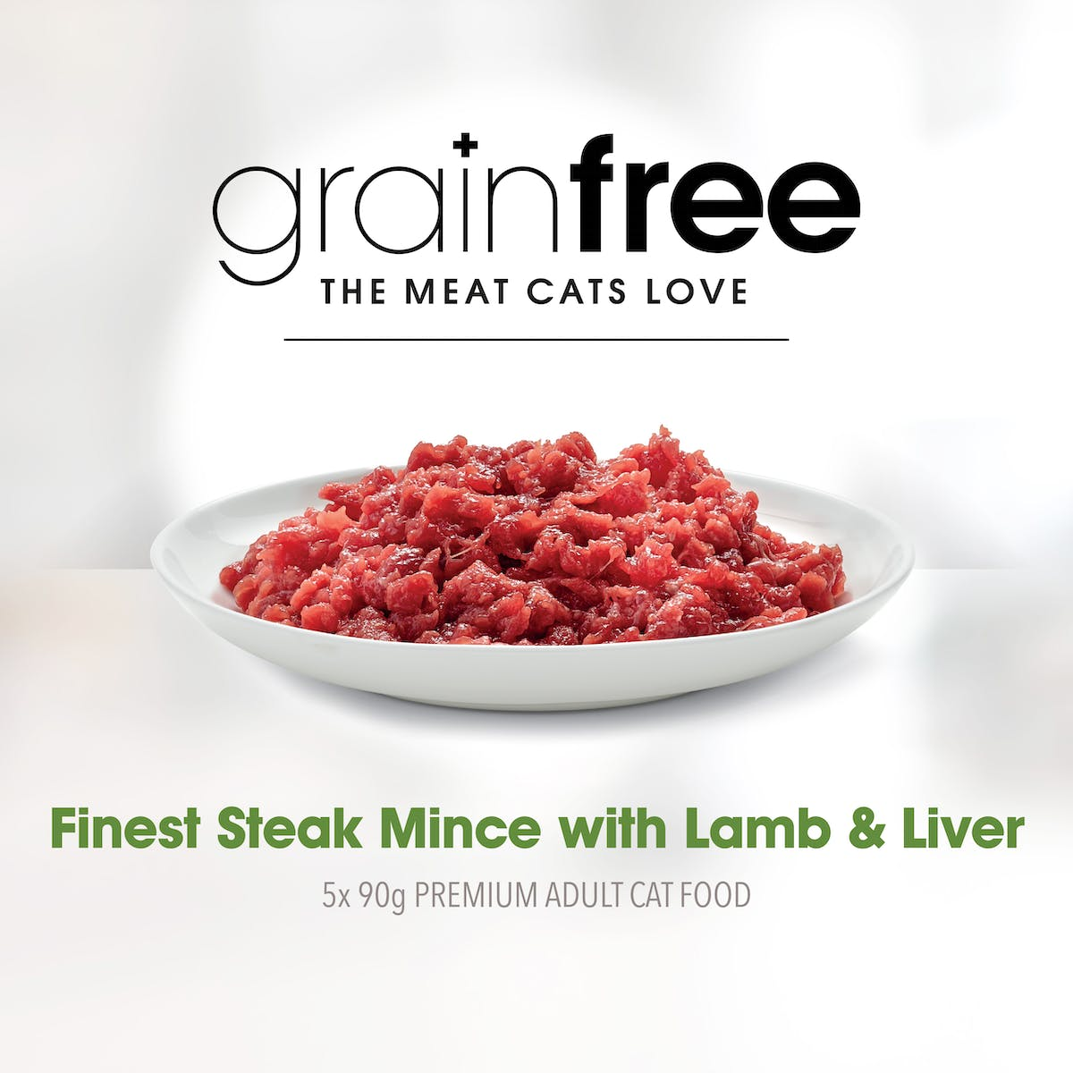 Fussy Cat | Finest Steak Mince with Lamb & Liver Flavour 5 x 90g | Chilled cat food | Right of pack