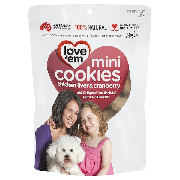 Love'em | mini cookies chicken liver & cranberry | Indulge dog | Front of pack