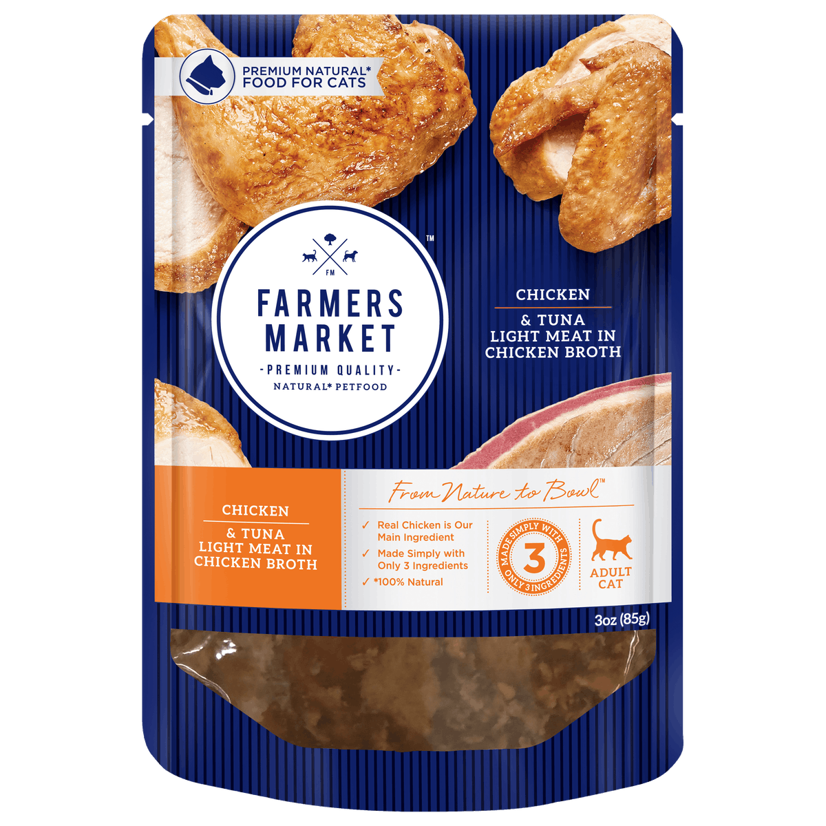Farmers Market | Chicken and Tuna in Chicken Broth | Wet Cat Food | Front of pack