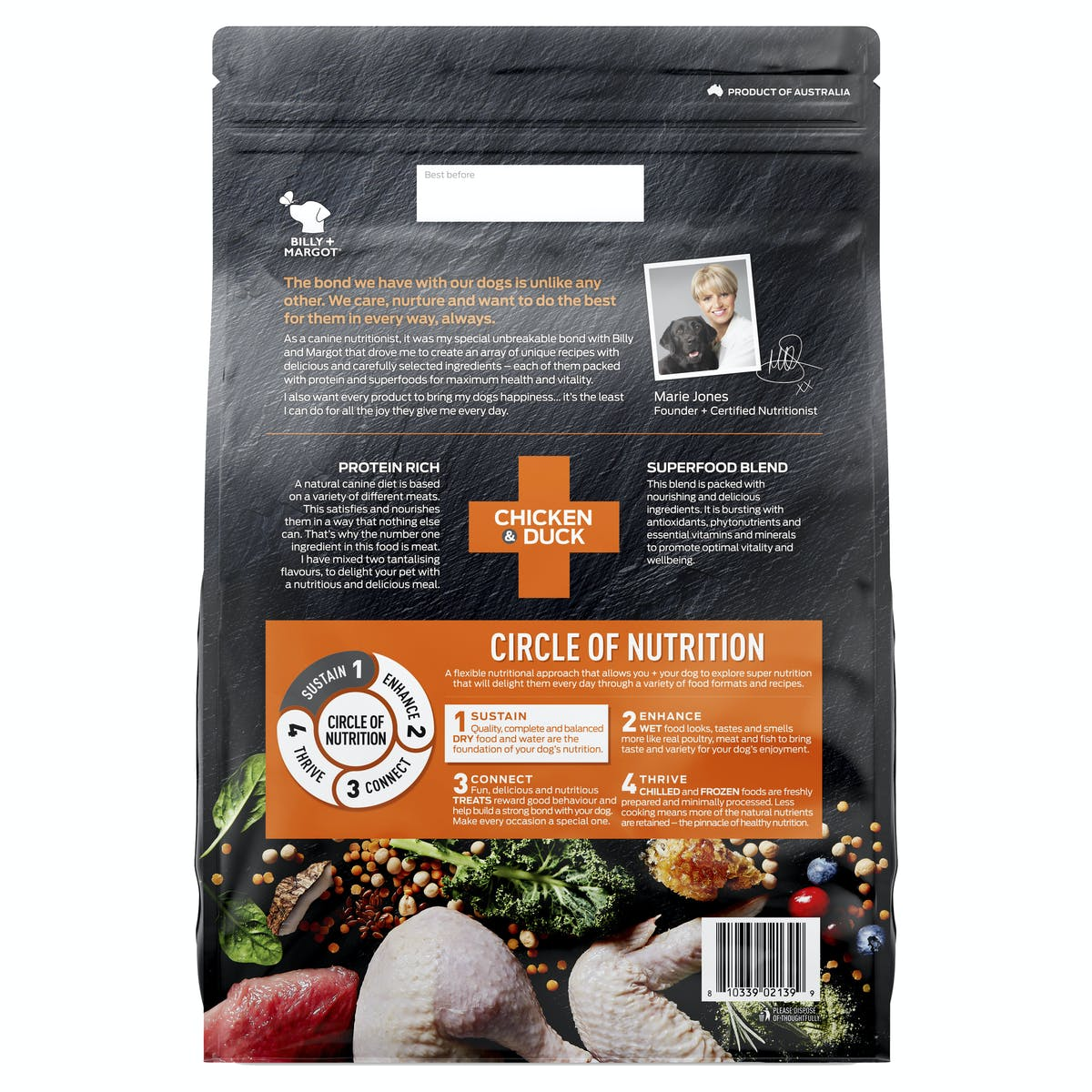 Billy + Margot® | Chicken + Duck | Dry Dog Food | Back of pack