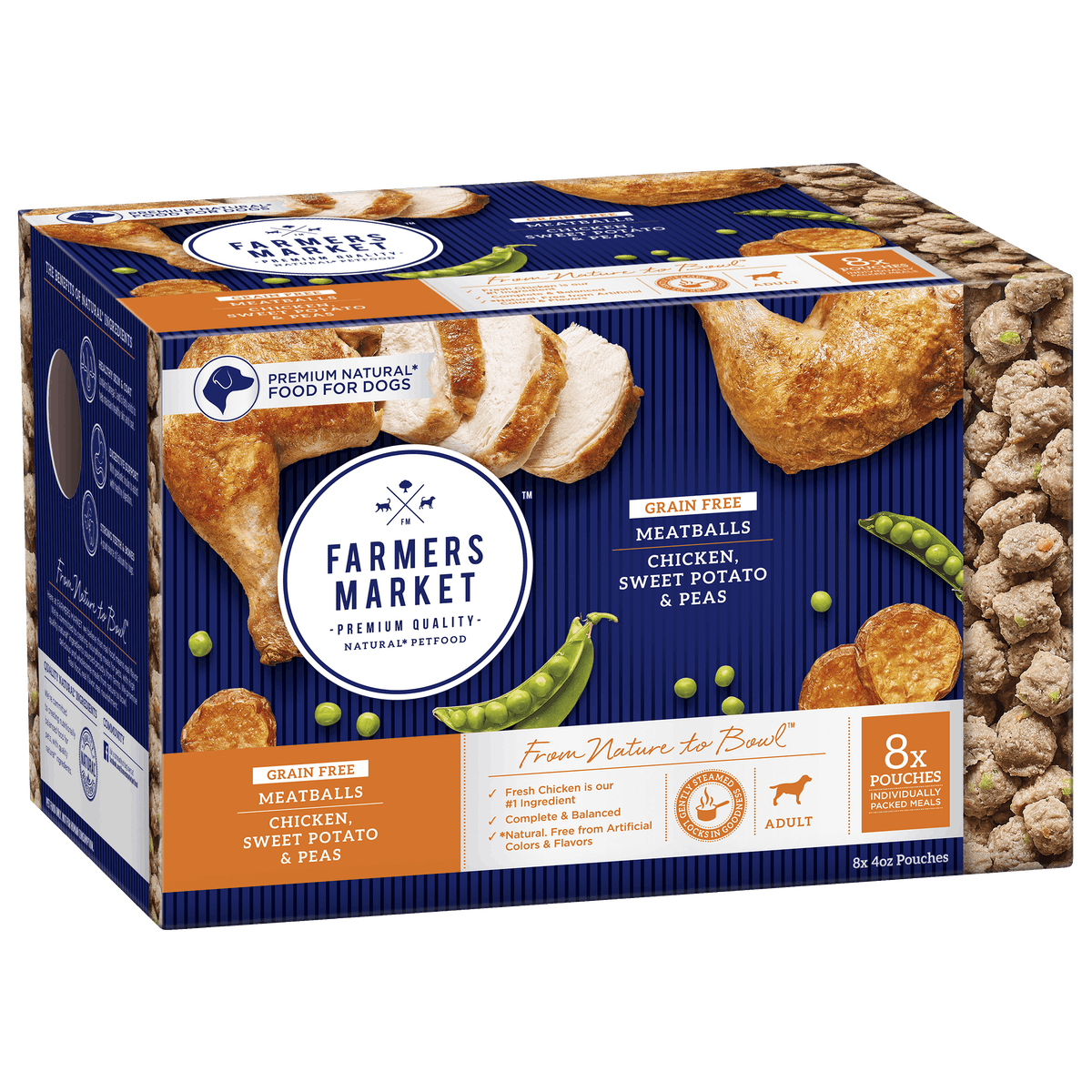 Farmers Market | Grain-Free Chicken, Sweet Potato and Peas Meatballs | Chilled dog food | Front of pack