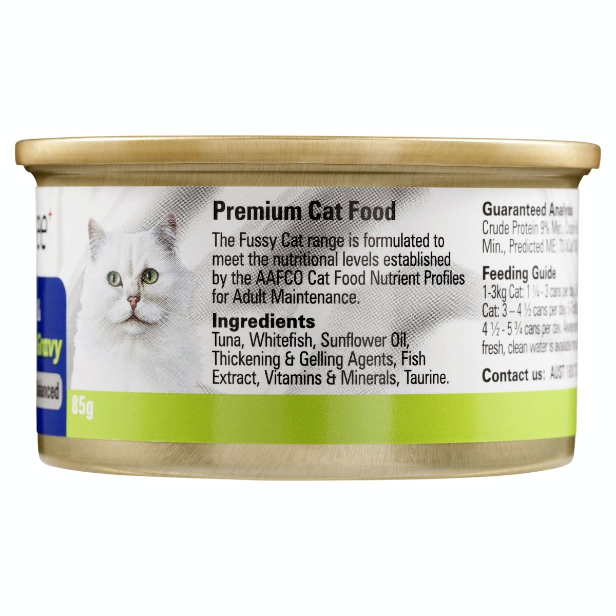 Fussy Cat | Flaked Tuna & Whitefish in Gravy 85g | Wet Cat Food | Right of pack