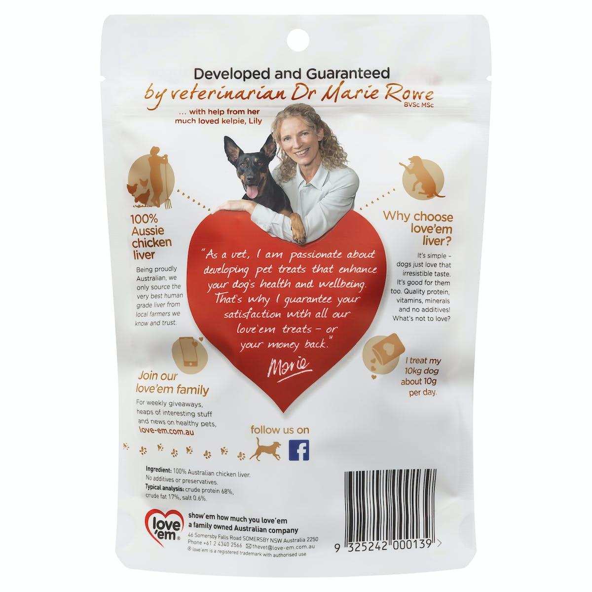 Love'em   chicken liver treats   Indulge dog   Front of pack