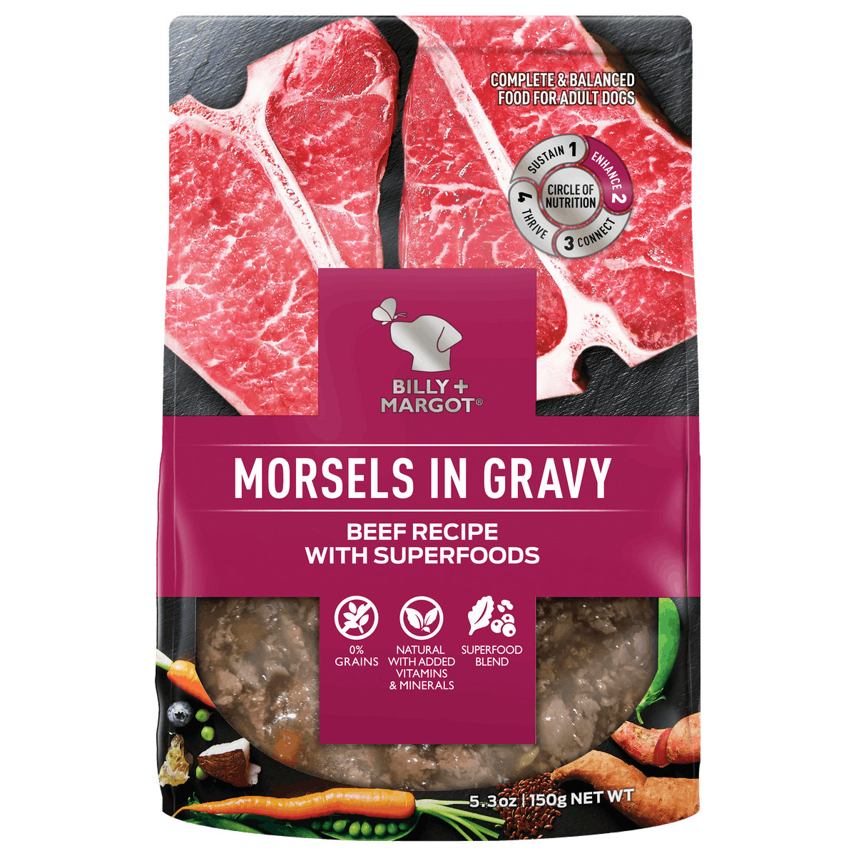 Billy + Margot® | Beef Recipe with Superfoods | Wet dog food | Front of pack