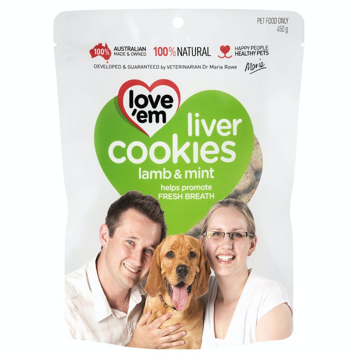 Love'em | liver cookies lamb & mint | Indulge dog | Front of pack