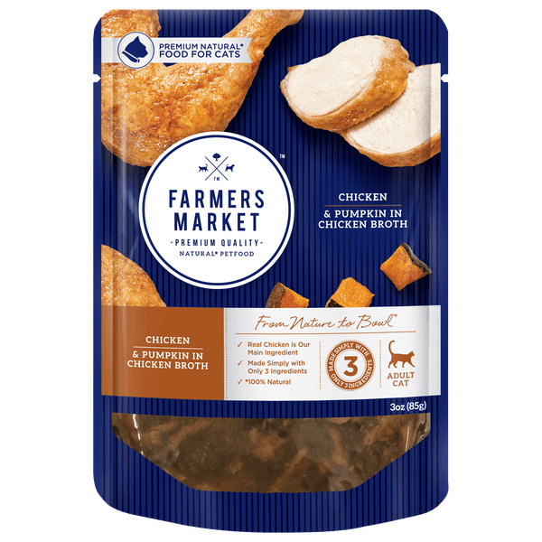 Farmers Market | Chicken and Pumpkin in Chicken Broth | Wet Cat Food | Front of pack
