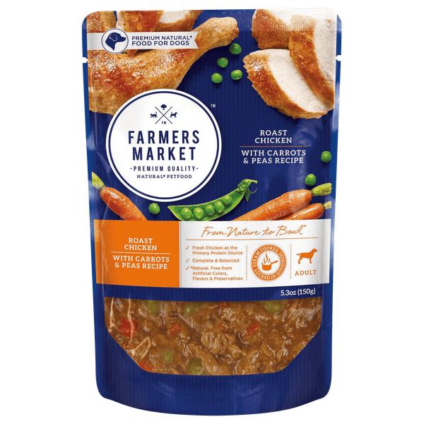Farmers Market | Roast Chicken, Carrots and Peas | Wet dog food | Front of pack