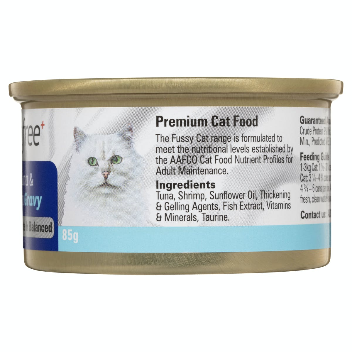 Fussy Cat | Flaked Tuna & Shrimp in Gravy 85g | Wet Cat Food | Back of pack