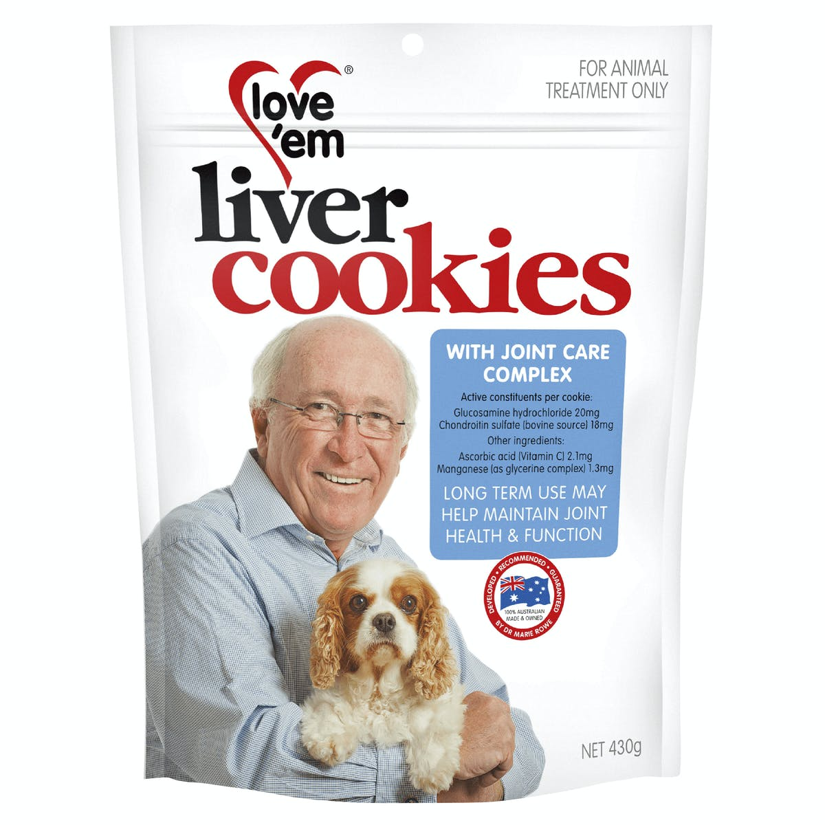 Love'em   liver cookies with joint care complex   Health dog   Front of pack