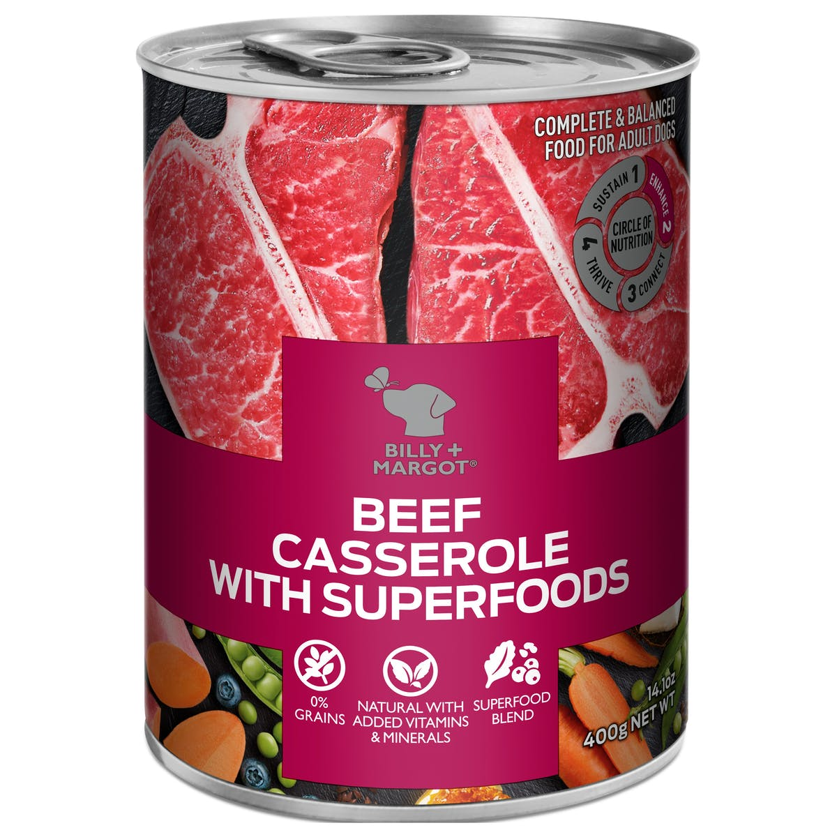 Billy + Margot® | Beef Casserole With Superfoods | Wet dog food | Front of pack