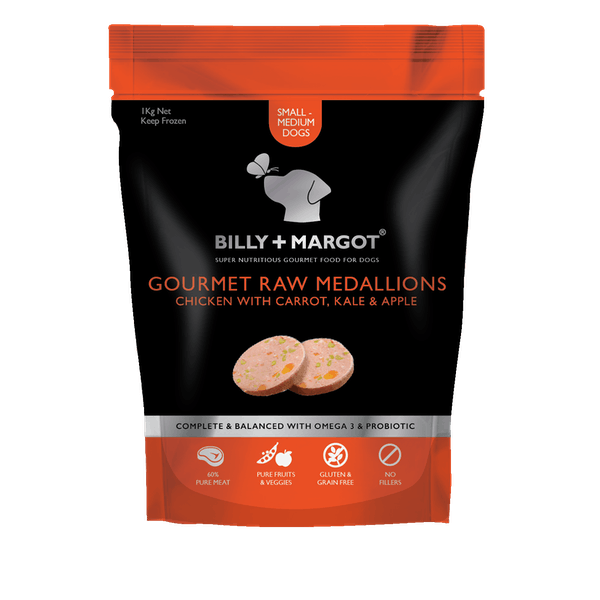 Billy + Margot® | Chicken with Carrot, Kale & Apple | Frozen dog food | Front of pack