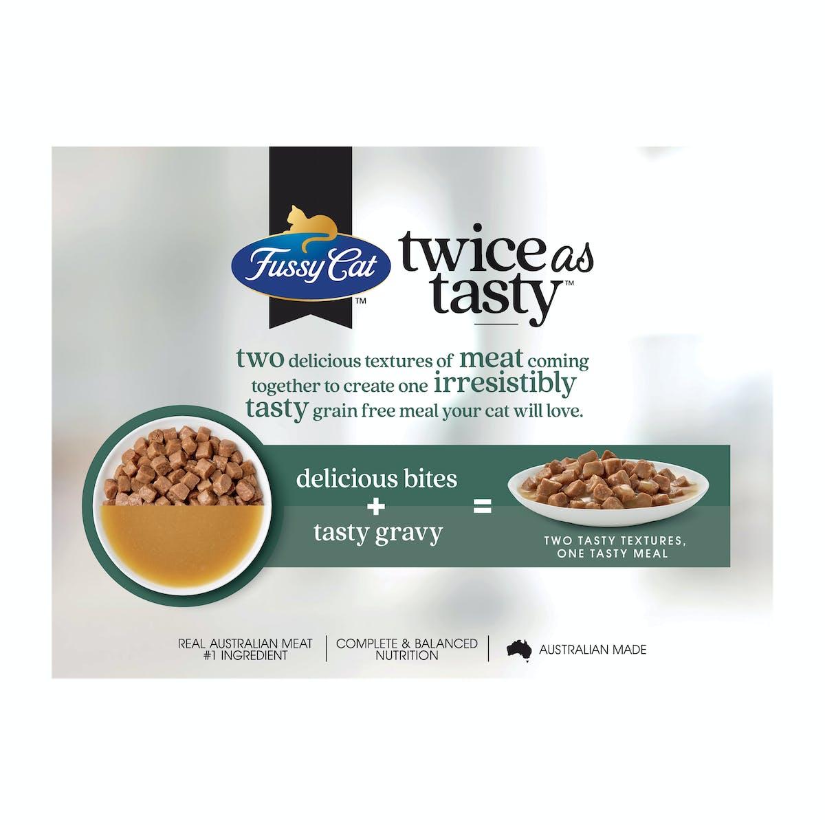 Fussy Cat | Bites & Gravy Favourites | Wet Cat Food | Back of pack