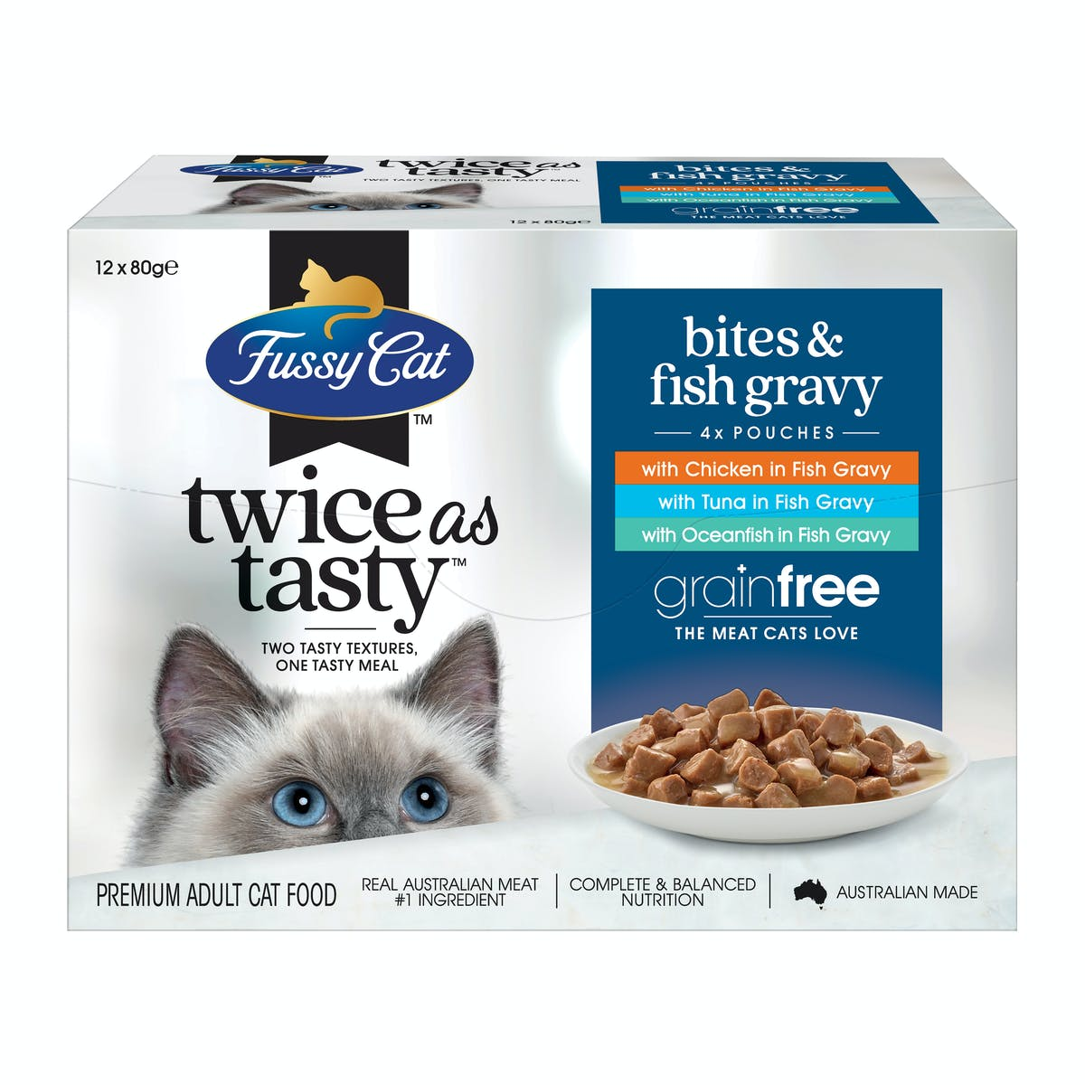 Fussy Cat   Bites & Fish Gravy   Wet Cat Food   Front of pack