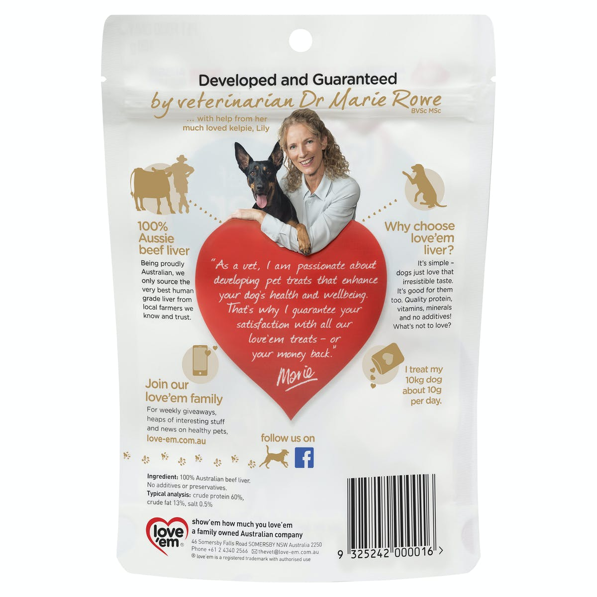 Love'em | beef liver treats | Indulge dog | Front of pack