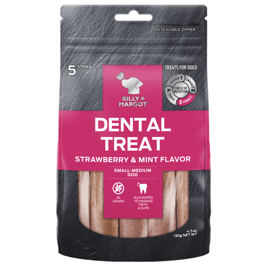Billy + Margot® | Strawberry & Mint Flavor | Dog treats | Front of pack