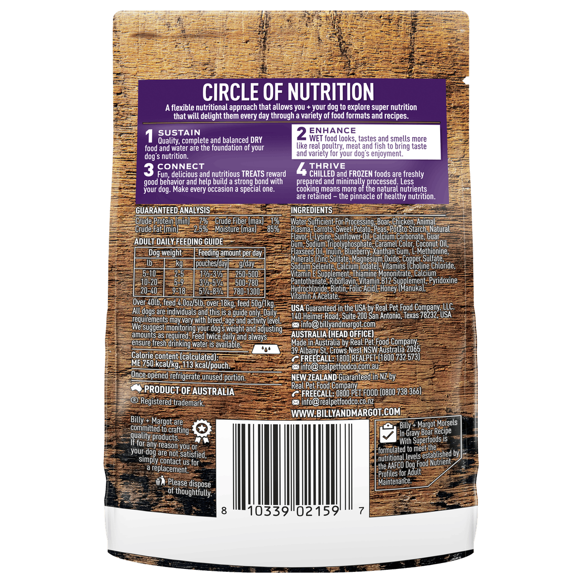 Billy + Margot® | Boar Recipe with Superfoods | Wet dog food | Front of pack