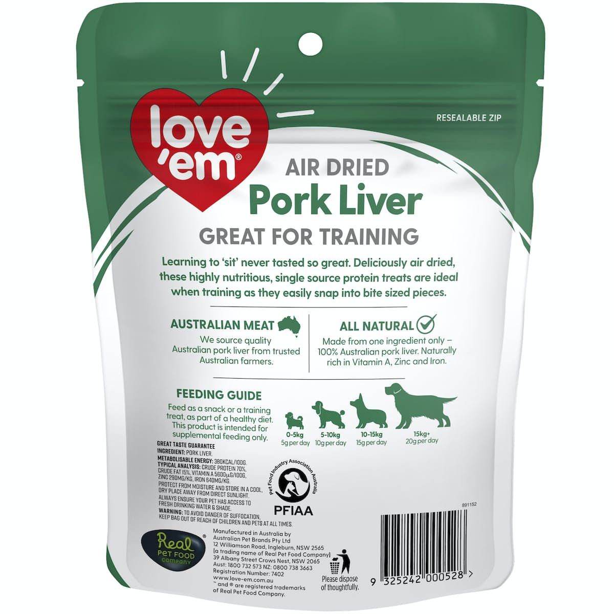 Love'em | Air Dried Pork Liver | Train dog | Front of pack