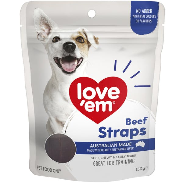 Love'em | Beef Straps | Train dog | Front of pack