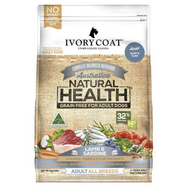 Ivory Coat | Lamb & Sardine | Grain-free dry dog food | Front of pack