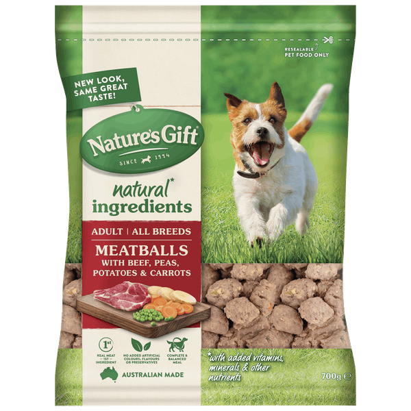 Nature's Gift | Meatballs with Beef, Potato, Carrots & Peas | Chilled dog food | Front of pack