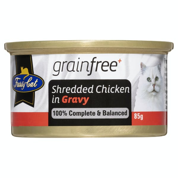 Fussy Cat | Shredded Chicken in Gravy 85g | Wet Cat Food | Front of pack