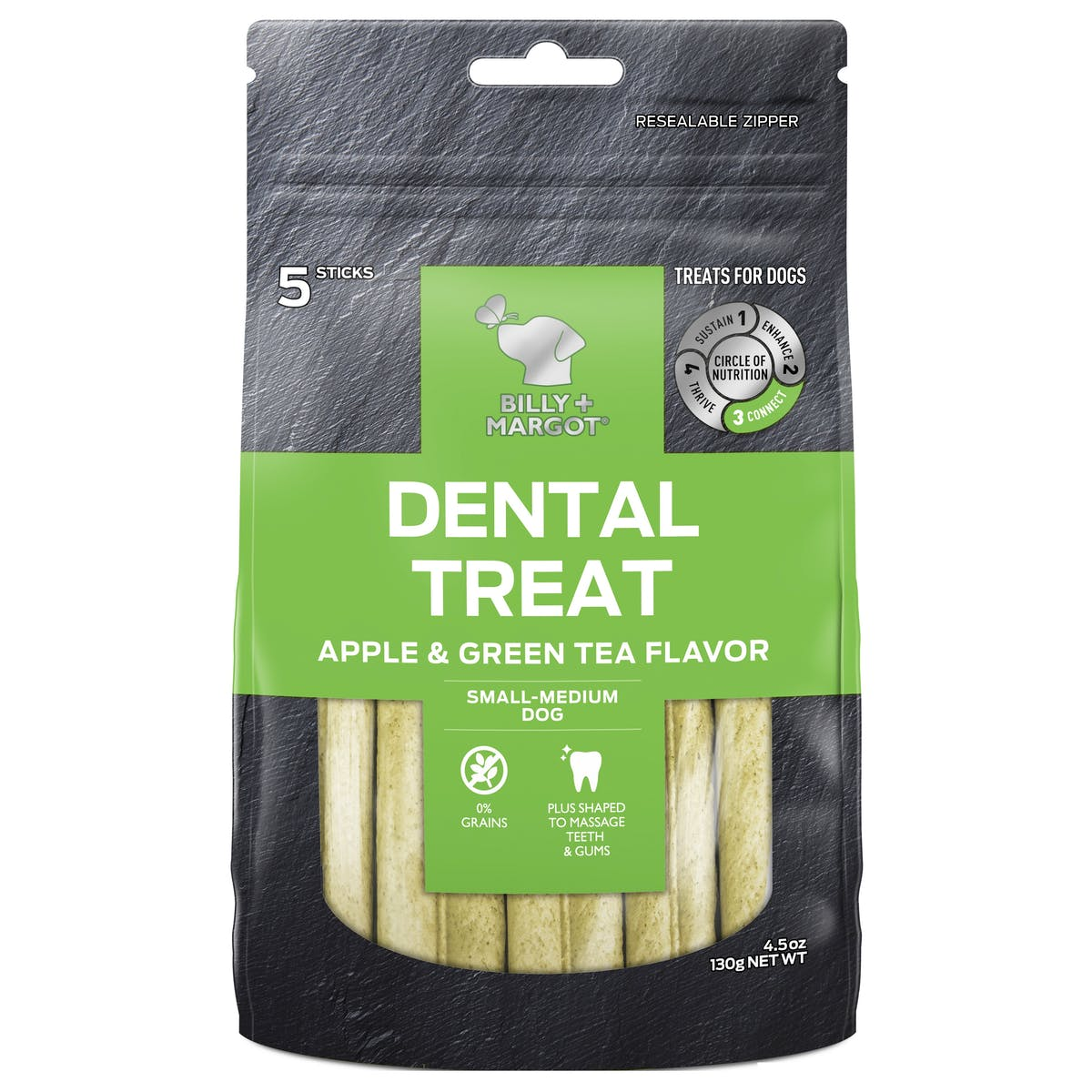 Billy + Margot® | Apple & Green Tea Flavors | Dog Treats | Front of pack