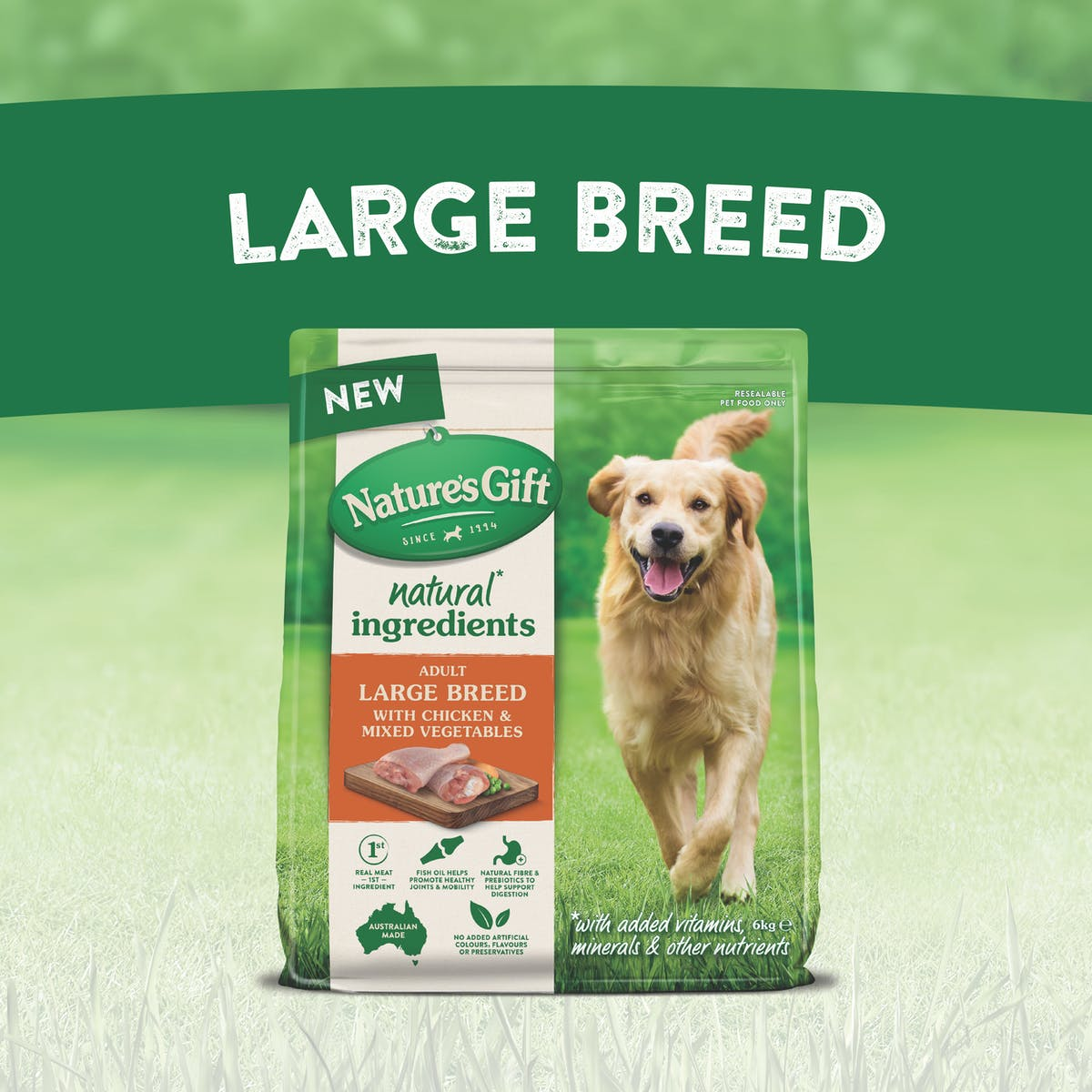 Nature's Gift   Large Breed with Chicken & Mixed Vegetables   Dry dog food   Back of pack