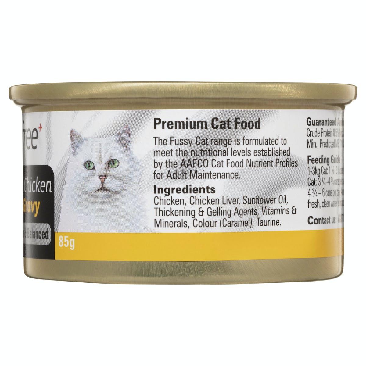 Fussy Cat | Shredded Chicken & Liver in Gravy 85g | Wet Cat Food | Back of pack