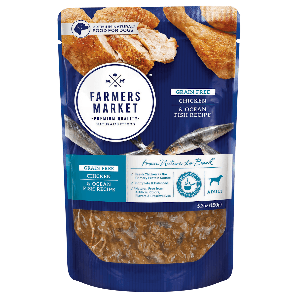 Farmers Market | Grain-Free Chicken & Ocean Fish | Wet dog food | Front of pack
