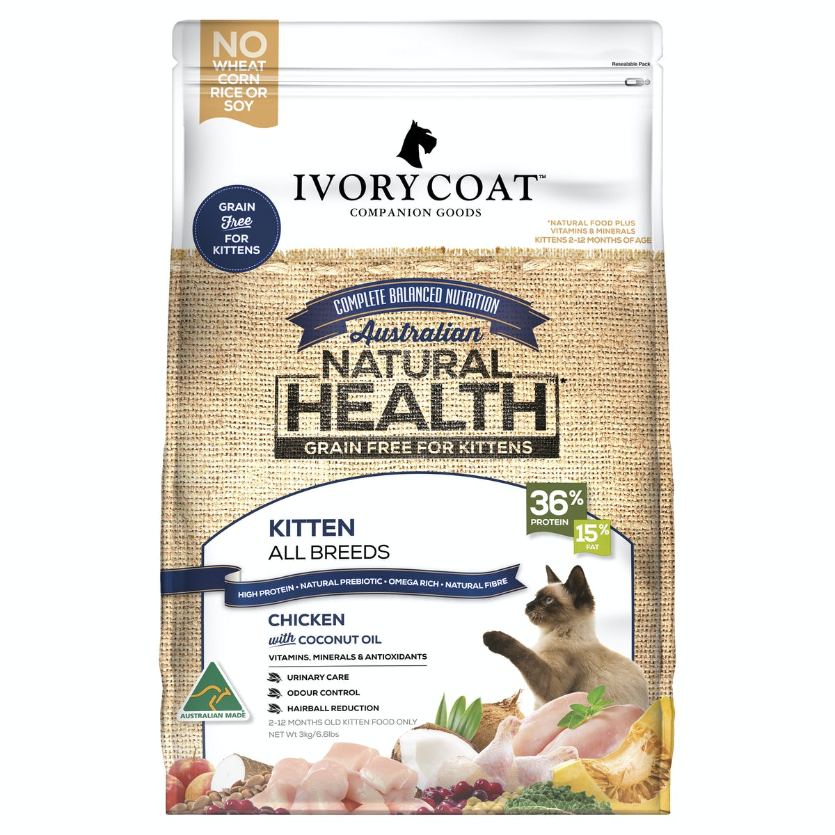 Ivory Coat | Chicken with Coconut Oil | Grain-free dry cat food | Front of pack