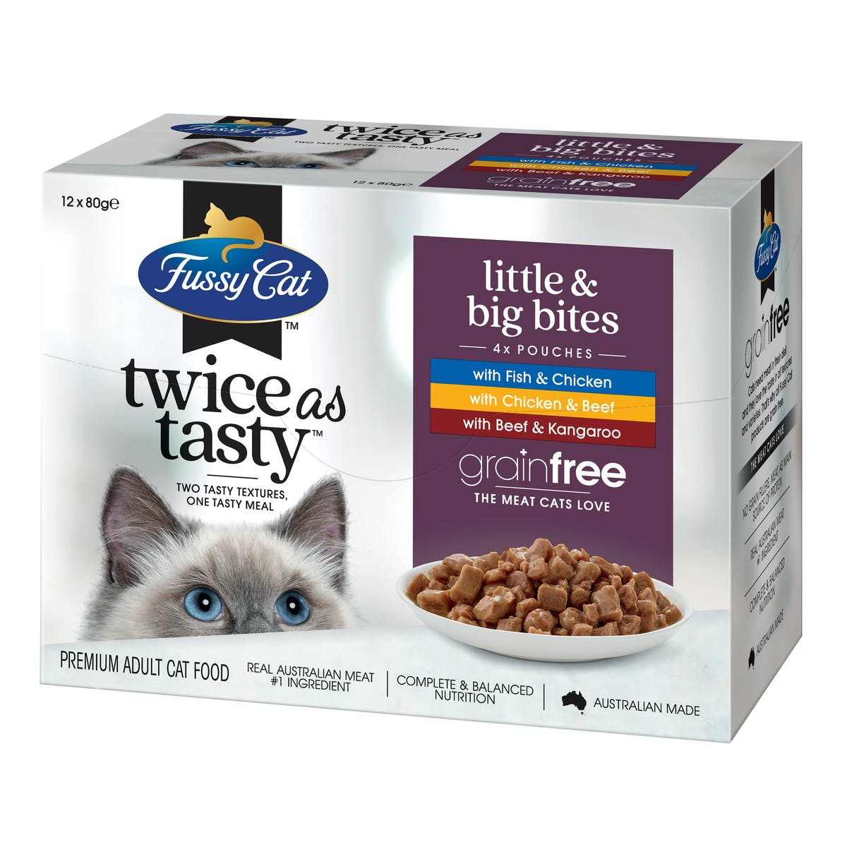 Fussy Cat   Little & Big Bites   Wet Cat Food   Left of pack