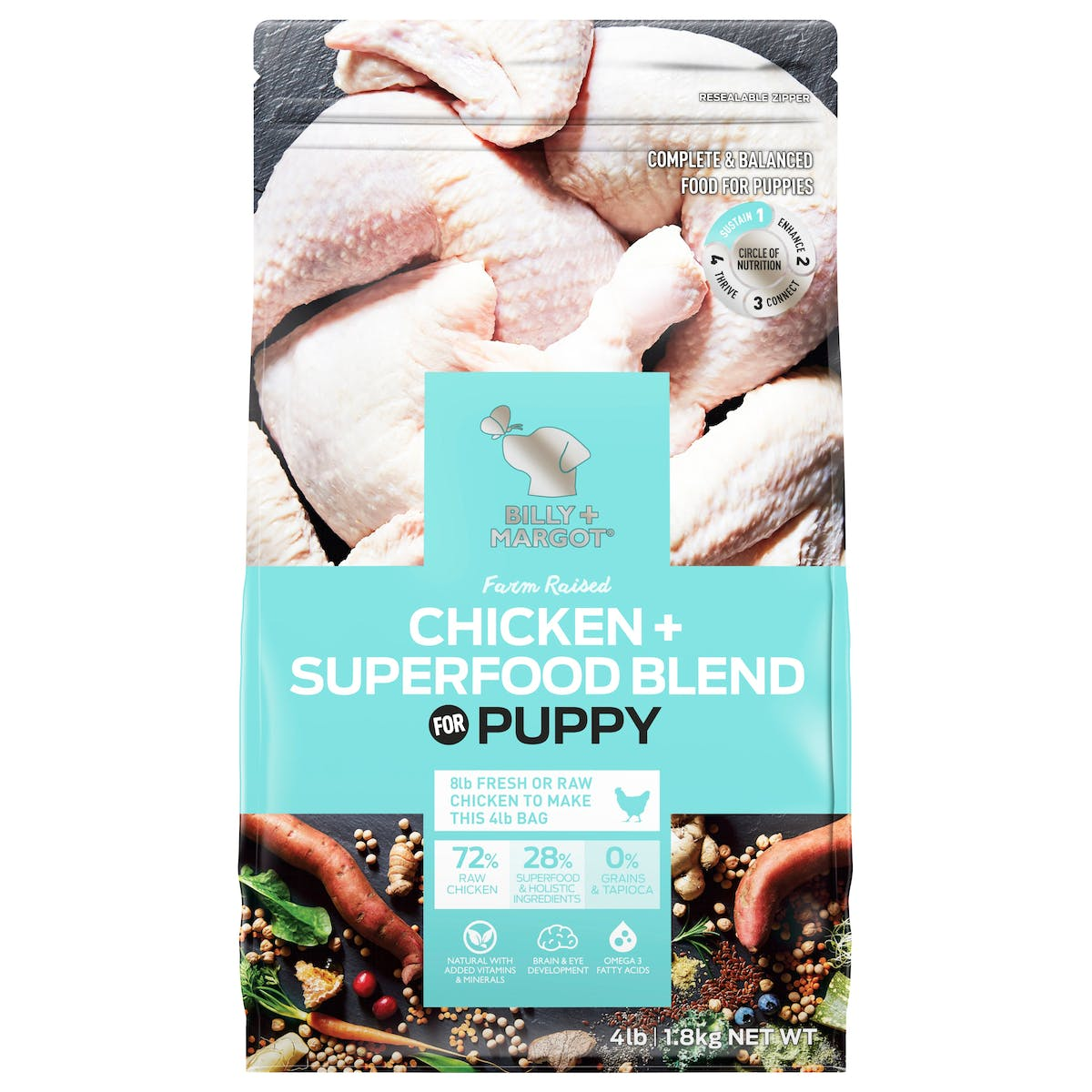 Billy + Margot® | Chicken + Superfood Blend | Puppy | Front of pack