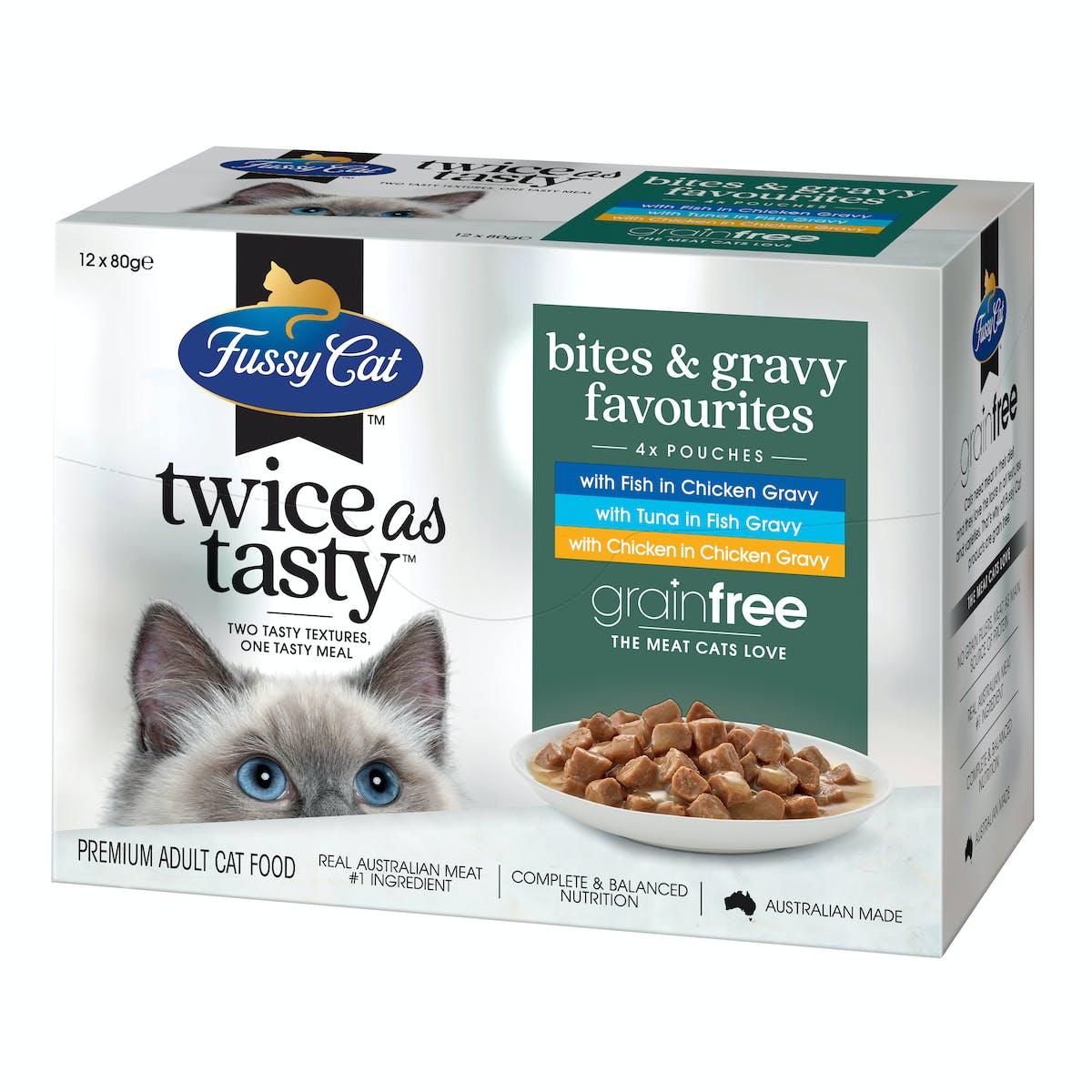 Fussy Cat | Bites & Gravy Favourites | Wet Cat Food | Left of pack