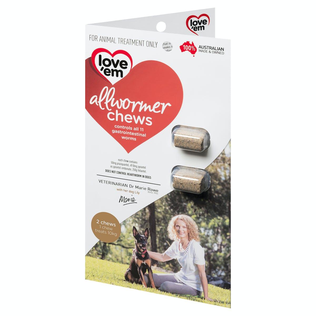 Love'em | all-wormer chews (medium) | Health dog | Front of pack
