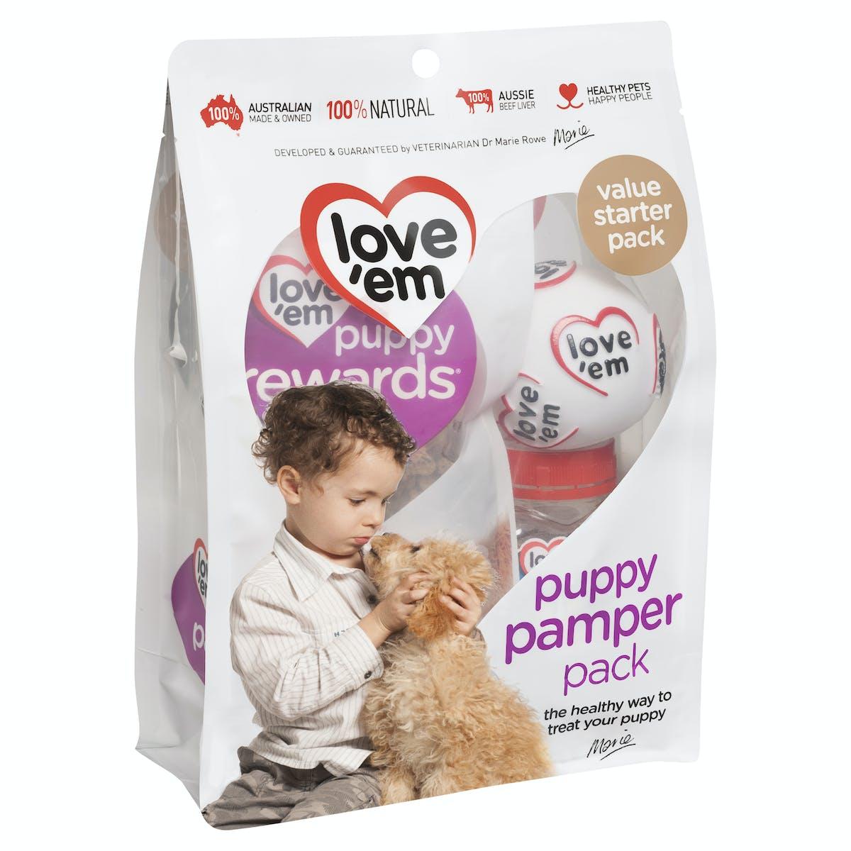 Love'em | puppy pamper pack | Indulge dog | Front of pack